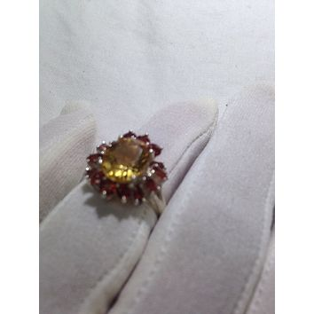 Vintage handmade golden genuine Citrine and real Garnet 925 Sterling Silver gothic Ring