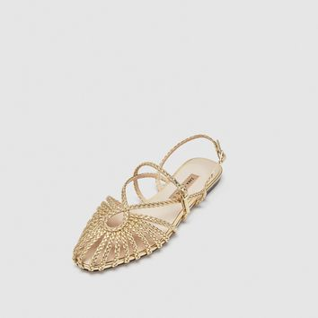 GOLD BRAIDED CAGE SANDALS DETAILS