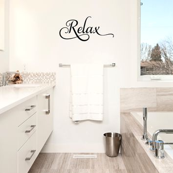 "Relax- 22"" X 10""-  Bathroom Decorative Vinyl Wall Decal Sticker Art"