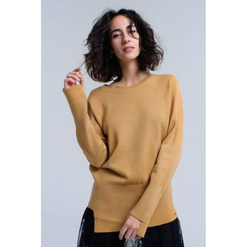 Mustard sweater with ribbed cuffs