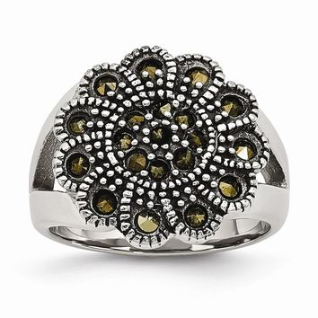 Stainless Steel Textured Flower Marcasite Ring