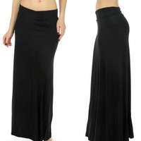 High Waist Soft Modal Solid Maxi Skirts in Reg and Plus Sizes S-3X in 10 Colors
