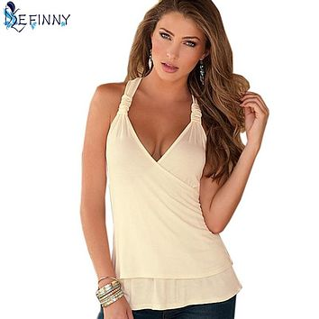 EFINNY Charming Summer Women Tops Halter Neck Strapless Tank Sexy Backless Lace Stitching Vest