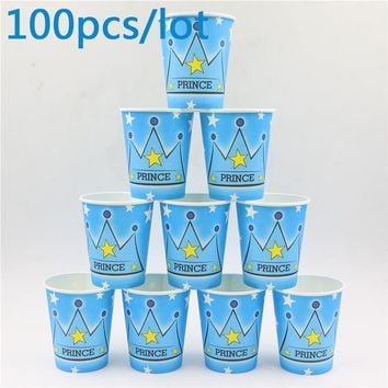 prince crown Theme Kids Favors blue Cups Tableware Happy Birthday Party Baby Shower Decoration Paper Glass Supplies 100pcs\lot