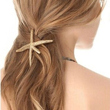 Celebrity Trending Gold Starfish Hair Clip Hairpin Wedding Barrette