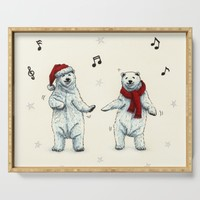 The polar bears wish you a Merry Christmas Serving Tray by savousepate
