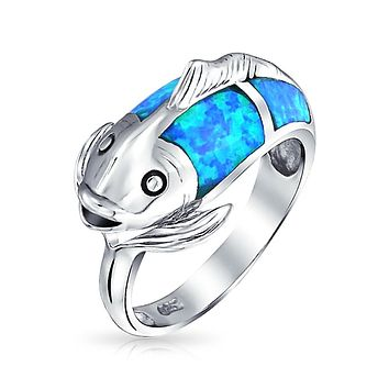 Pisces Zodiac Blue Created Opal Bypass Fish Band Ring Sterling Silver