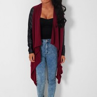 Syrah Red & Black Waterfall Drape Knit Cardigan | Pink Boutique