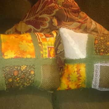 throw pillows, burlap, patchwork,harvest colors,  set of two