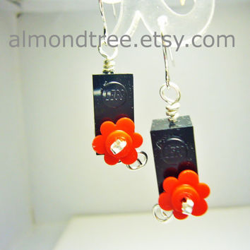 Black n Red flowers fun earrings jewelry handmade id1340418 wirewrapped jewellery schmuck lego