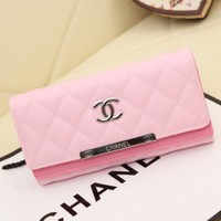 CHANEL Women Leather Purse Wallet Buckle Pink