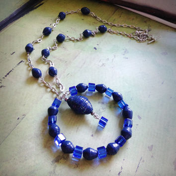 Navy blue necklace, Handmade paper bead necklace, Blue glass cube beads, Lightweight necklace