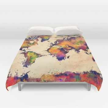 World map watercolor 3 Duvet Cover by Jbjart