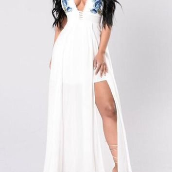 White Embroidery Pleated Backless Side Slit Prom Evening Party Maxi Dress