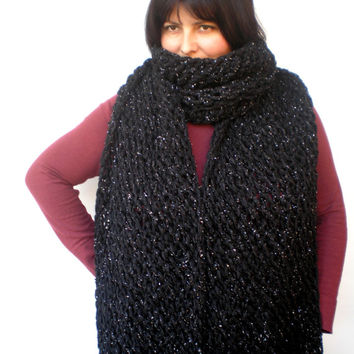 Silver and Black Lace Wrap Hand Knitted Stole Woman Trendy Shoulder Wrap Chunky Warp Scarf NEW