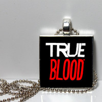 True Blood Square Tile Pendant Necklace or Keychain