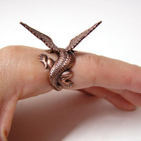 Steampunk Dragon Ring, dragon body wrap around finger (copper)