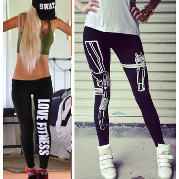 Women Sports Bodybuilding Legging Pants Work out Printed Black Casual Sexy Bottom Fitness Leggings Winter Warm Pants Plus Size