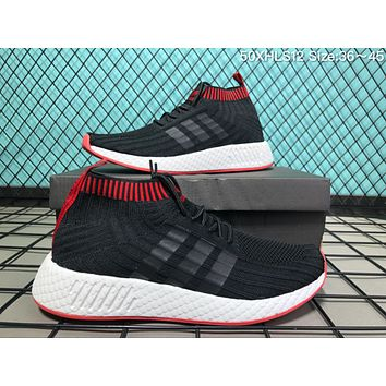 DSUA A048 Adidas NMD Socks Knit Fabric Fish Scales Super Soft Bottom Fashion Trend Casual Running Shoes Black Red