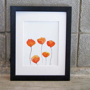 Tulips Watercolor Art Print 5x7 Garden Decor Orange Flower Orange Tulip Red and Orange