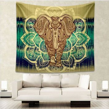 Elephant Tapestry Colored Printed Decorative Mandala 150*130cm 210*150cm Tapestry Indian Boho Wall Carpet Tapestry