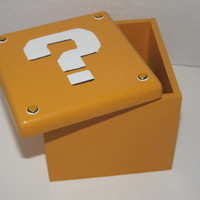 Super Mario Bros new style question mark mystery block handpainted geeky Trinket Jewelry Box