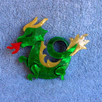 """Lea Stein Dragon Pin Red Glitter Fire Breathing Brooch 2 1/2"""" Green Gold Signed Paris France Vintage Costume Jewelry Celluloid Laminate"""