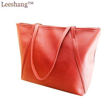 Leeshang Woman Casual Big Bags Handbag Fashion Shopper Bag Leather Tote Dames Black Shopper Shoulder Bags Blue Big Handbag Bolsa