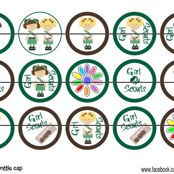 """Girl Scouts Bottle Cap Images 1"""" Circles Instant Download Digital Emailed 4x6"""