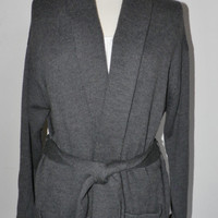Cardigan Sweater Ralph Lauren Women's Large Gray Grey Merino Wool