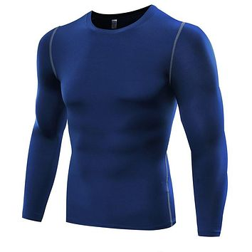 Muscle Men Compression Shirts T-shirt Long Sleeves Thermal Under Top Fitness Base Layer Weight Lifting