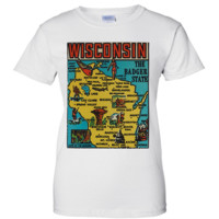 Vintage State Sticker Wisconsin Ladies T-Shirt