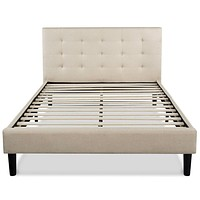 King size Upholstered Platform Bed Frame with Button Tufted Headboard in Taupe
