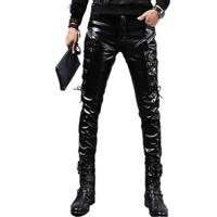 Men's Skinny Biker Vegan Leather Pants