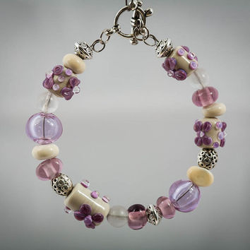 Lampwork Bracelet in Ivory and Purple Christmas Gift