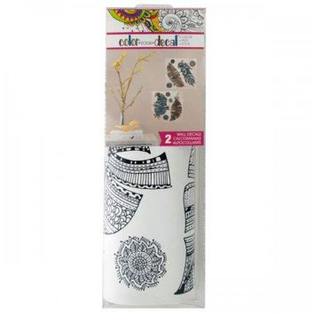 Color Your Decal Feathers Peel & Stick Wall Decals Set