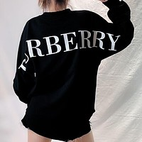 Burberry Popular Women Loose Personality Back Big Logo Print Long Sleeve Round Collar Thin Pullover Top Sweater Black I13614-1