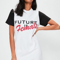 Missguided - White Oversized Future Is Female T-shirt Dress