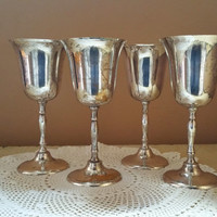 Silver Plate Wine Goblets Set of  Four Wine Toasting Glasses