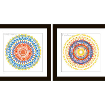 Print set of 2, blue, coral and yellow kaleidoscope prints, geometric home decor wall art, mandala art set, dorm decor, geometrical pattern