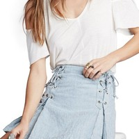 Free People Railroad Stripe Lace-Up Miniskirt   Nordstrom