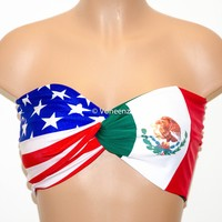 PADDED American Flag and Mexican Flag Bandeau, United Nation's Swimwear Bikini Top, Twisted Top Bathing Suits, Spandex Bandeau Bikini