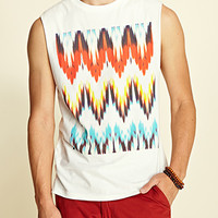 Abstract Muscle Tee Ivory/Blue