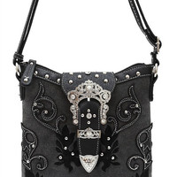 * Black Western Cowgirl Flower Rhinestone Belt Design Messenger Bag  M