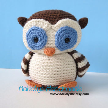 Crocheted Brown Owl with Striped Wings-Amigurumi-OOAK-Ready to Ship