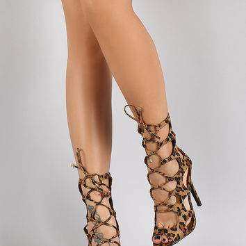 Breckelle Leopard Caged Corset Lace Up Heel
