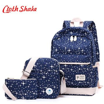 Luggage Bags Fashion Start Women Men Canvas Backpack Heavy-Duty Schoolbags For Teenagers Casual Travel Shopping Laptop Rucksack