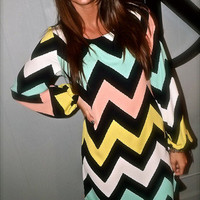 Pastel Zig Zag Dress | The Rage