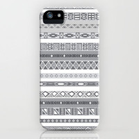 Silver Black & White Aztec Pattern iPhone Case by RexLambo | Society6