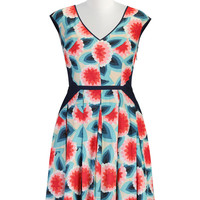 Floral colorblock print frock